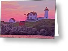 Sunrise Nubble Lighthouse Greeting Card by Dale J Martin