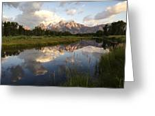 Sunrise Reflection At Schwabacher Landing  Greeting Card by Paul Cannon