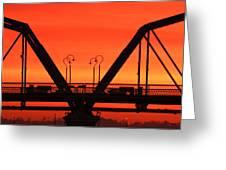 Sunrise Walnut Street Bridge Greeting Card by Tom and Pat Cory