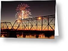 Sunset And Fireworks Greeting Card by Deborah  Crew-Johnson