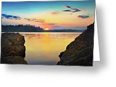 Sunset Between The Rocky Shore Greeting Card by Steven Llorca
