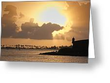 Sunset In San Juan Bay Greeting Card by George Oze