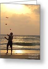 Sunset Juggling Greeting Card by Stav Stavit Zagron