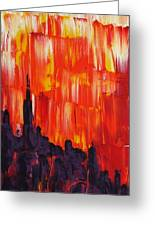 Sunset Of Melting Waterfall Behind Chicago Skyline Or Storm Reflecting Architecture And Buildings Greeting Card by M Zimmerman MendyZ