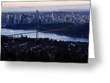 Sunset On Vancouver City Greeting Card by Pierre Leclerc Photography