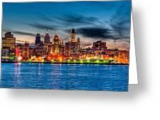 Sunset Over Philadelphia Greeting Card by Louis Dallara