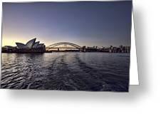 Sunset Over Sydney Harbor Bridge And Sydney Opera House Greeting Card by Douglas Barnard