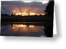 Sunset Rays Bursting Over Lake Bradley Greeting Card by Cindy Wright