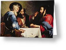 Supper at Emmaus Greeting Card by Bernardo Strozzi