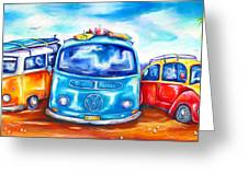 Surf Wagons Greeting Card by Deb Broughton
