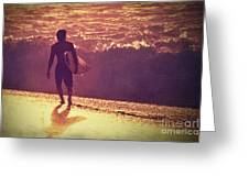 Surfer At Sunset Greeting Card by Paul Topp