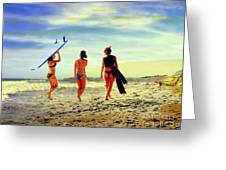 Surfer Girls  Greeting Card by Kevin Moore
