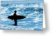 Surfer Silhouette Greeting Card by Carlos Caetano