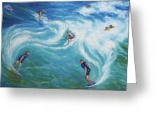Surfing Greeting Card by Diane Quee