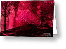 Surreal Fantasy Red Nature Trees And Birds Greeting Card by Kathy Fornal