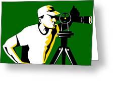Surveyor Geodetic Engineer Survey Retro Greeting Card by Aloysius Patrimonio