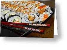 Sushi And Chopsticks Greeting Card by Carolyn Marshall