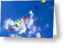 Suspended Festive Flags. Greeting Card by Bernard Jaubert
