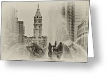 Swann Memorial Fountain In Sepia Greeting Card by Bill Cannon