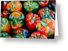 Sweet Peppers Greeting Card by Guy Harnett