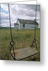 Swing At Old School House, Quappelle Greeting Card by Dave Reede