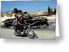 Syrian Men Drive A Motorbike Greeting Card by Andrew Chittock