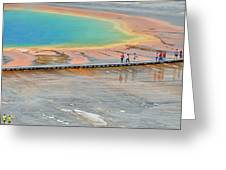Taking A Stroll At Yellowstone's Grand Prismatic Greeting Card by Bruce Gourley