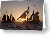 Tall Ships At Sunset Greeting Card by Cliff Wassmann