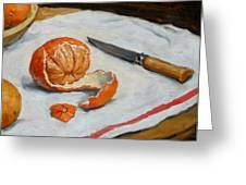 Tangerine And Knife Greeting Card by Thor Wickstrom
