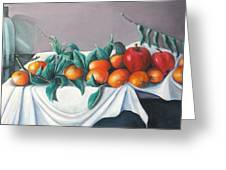 Tangerines And Apples Greeting Card by Eileen Kasprick