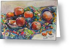 Tangerines Greeting Card by Juliya Zhukova