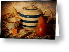 Tea And Pear Greeting Card by Toni Hopper