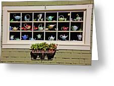 Tea Pots In Window Greeting Card by Garry Gay