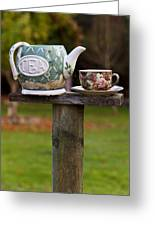 Teapot And Tea Cup On Old Post Greeting Card by Garry Gay