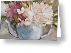 Teapot With Peonies Greeting Card by Tanya Jansen