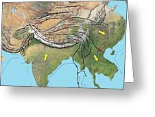 Tectonic Map Of Asia Greeting Card by Gary Hincks