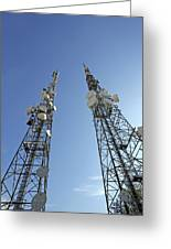 Telecommunications Masts Greeting Card by Carlos Dominguez