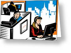 Telemarketer Office Worker Retro Greeting Card by Aloysius Patrimonio