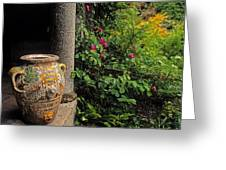 Temple And Garden Urn, The Wild Garden Greeting Card by The Irish Image Collection