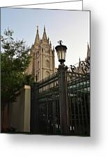 Temple Square Grounds Greeting Card by Bruce Bley