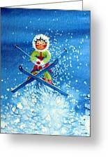 The Aerial Skier - 11 Greeting Card by Hanne Lore Koehler