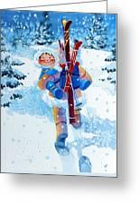 The Aerial Skier - 3 Greeting Card by Hanne Lore Koehler
