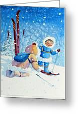 The Aerial Skier - 5 Greeting Card by Hanne Lore Koehler