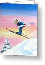 The Aerial Skier - 7 Greeting Card by Hanne Lore Koehler