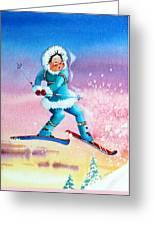 The Aerial Skier - 8 Greeting Card by Hanne Lore Koehler