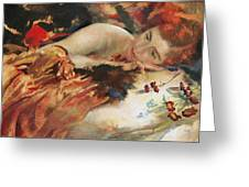 The Artist's Mistress Greeting Card by Charles Sims