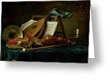 The Attributes Of Music Greeting Card by Anne Vallaer-Coster