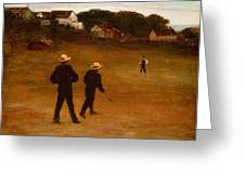 The Ball Players Greeting Card by William Morris Hunt