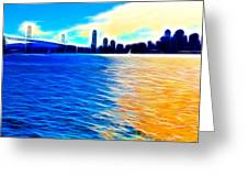 The Bay Bridge And The San Francisco Skyline . Panorama Greeting Card by Wingsdomain Art and Photography