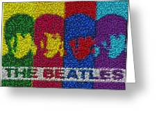 The Beatles Mm Candy Mosaic Greeting Card by Paul Van Scott